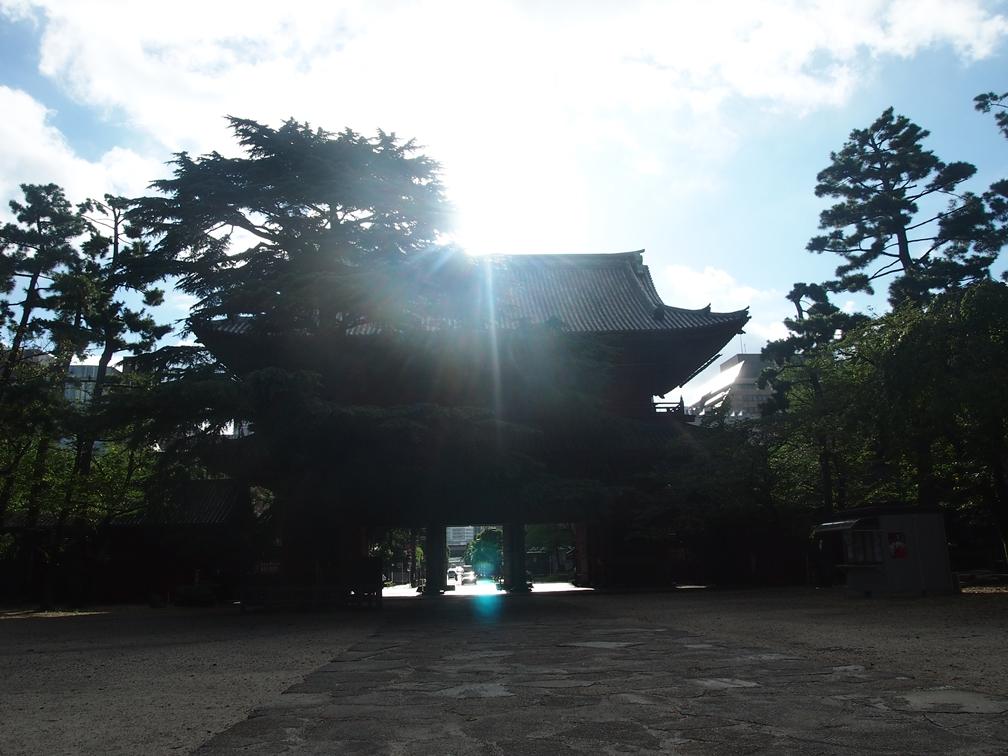 【増上寺】朝陽が昇る三解脱門を